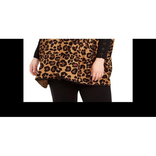 Anne Klein Women's Plus Metallic Leopard Print Poncho Sweater Beige Size 3X