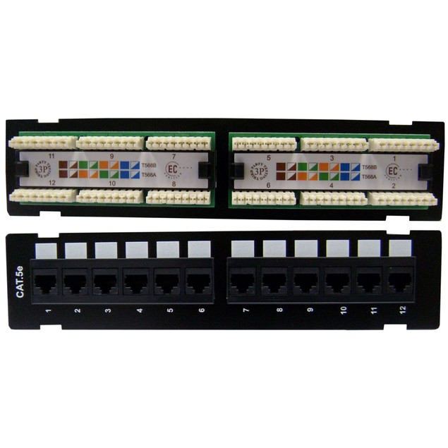 Wall Mount 12 Port Cat5e Patch Panel, 110 Type,10 inch
