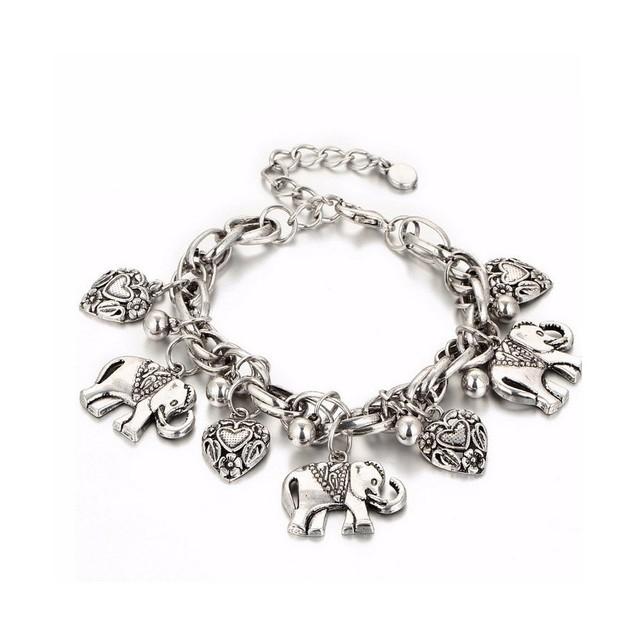 Novadab Elephant Leaf And Charm Heart Bracelet