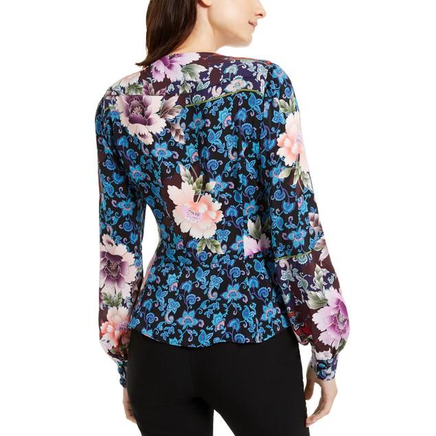 Nanette Women's Lepore Printed Silk Peplum Top Black Size 8