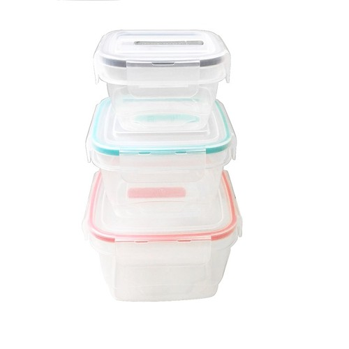 3 Pack Square Food Storage Container Set With Clip Vented Lid