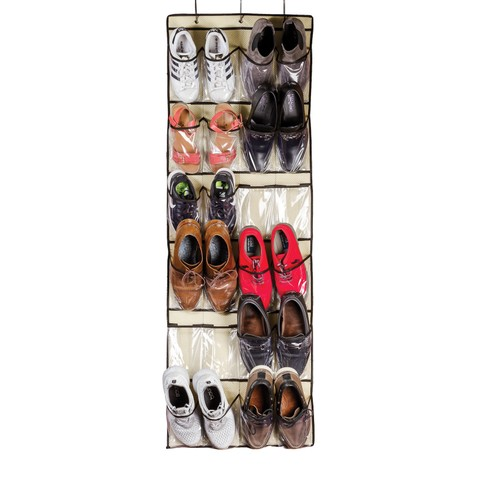 24 Pocket Over the Door Shoe Organizer Rack Hanging Storage Space Saver