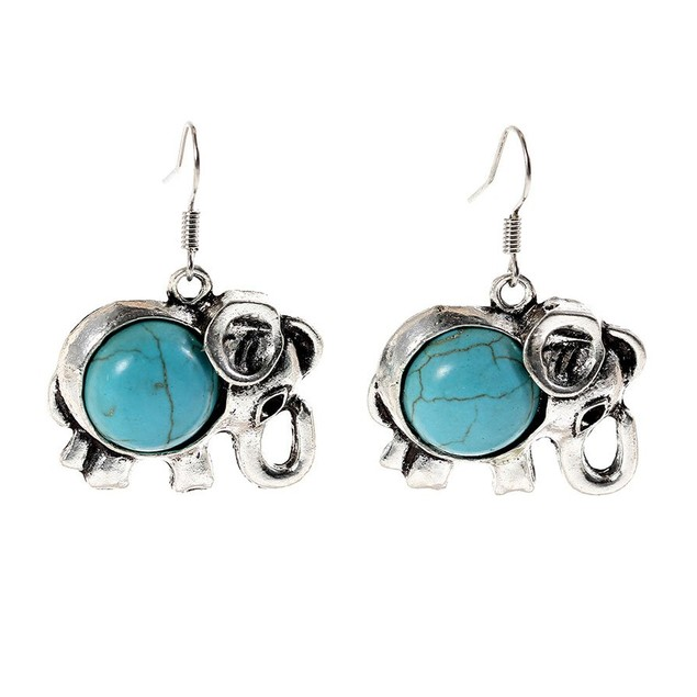 Novadab Lucky Elephant Turquoise Cabochon Women Earrings