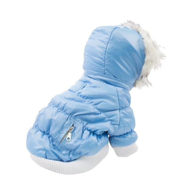 Classic Metallic Fashion Insulated Parka Dog Coat w/ Removable Hood