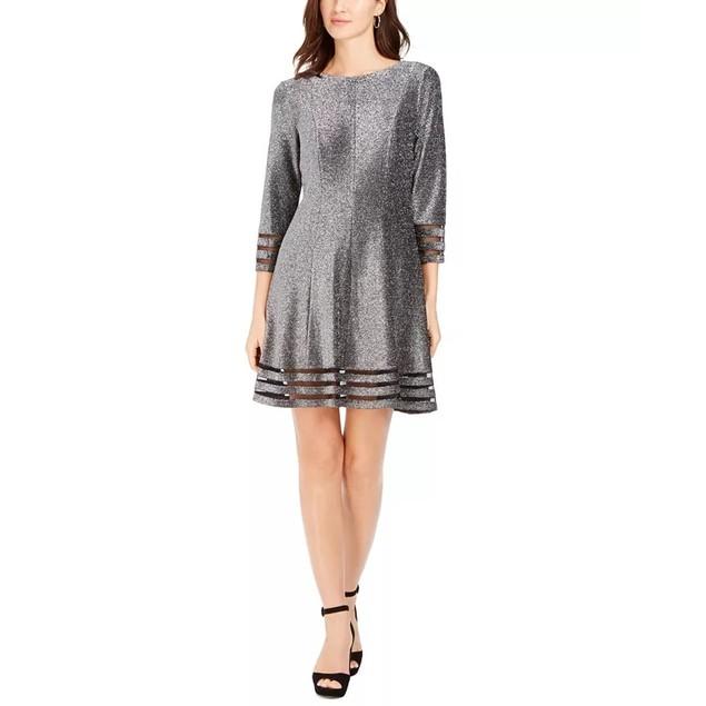 Jessica Howard Women's Metallic Illusion Trim Dress Silver Size 14 Petite