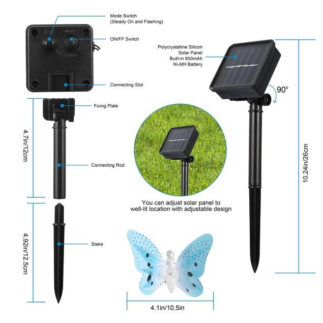 2 Pack Solar String Lights 3.8m/12.48Ft 12 LEDs Butterfly Lights