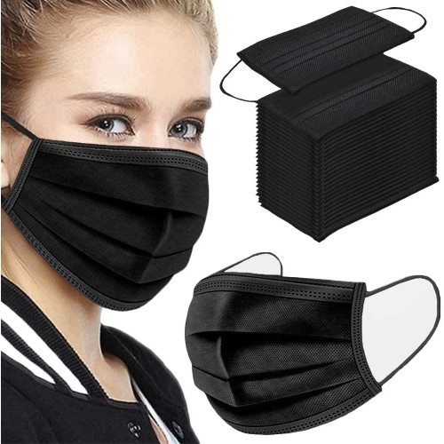 {50-Pack} Black Disposable Non-Medical 3-Ply Face Mask