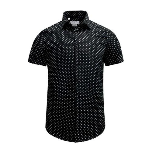 Monza Modern Fit Short Sleeve Black Polka Dot Dress Shirt