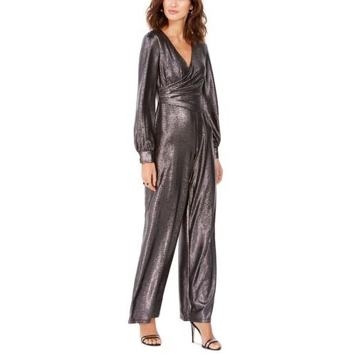 Adrianna Papell Women's Petite Metallic Wrap Jumpsuit Charcoal Size 10