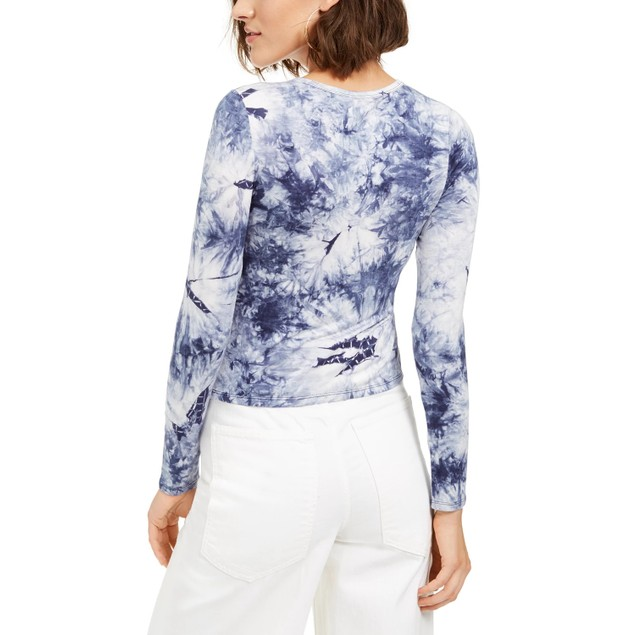 Self Esteem Juniors' Long-Sleeve Tie Dye Top Dark Blue Size Large