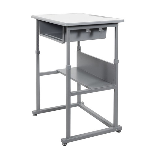 "Luxor 42"" Student Manual Adjustable Desk - Gray"