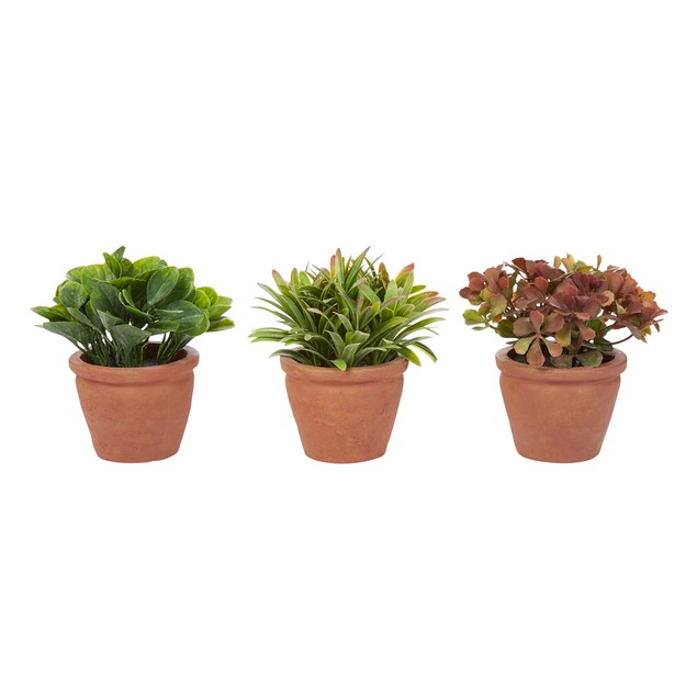 """Artificial 6"""" Tall Greenery Arrangement House Plants in Pots- Round Set of 3, Decorative Faux Indoor Ornamental Potted Foliage by Pure Garden"""
