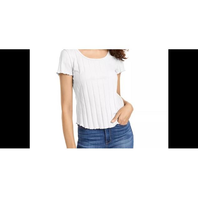 Pink Rose Junior's Rib Knit Lettuce Edged T Shirt Natural Size Medium