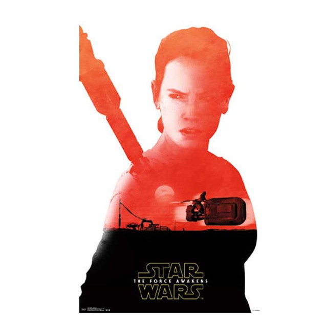 Star Wars The Force Awakens Rey Badge Poster 24 x 36 Force Awakens BB-8
