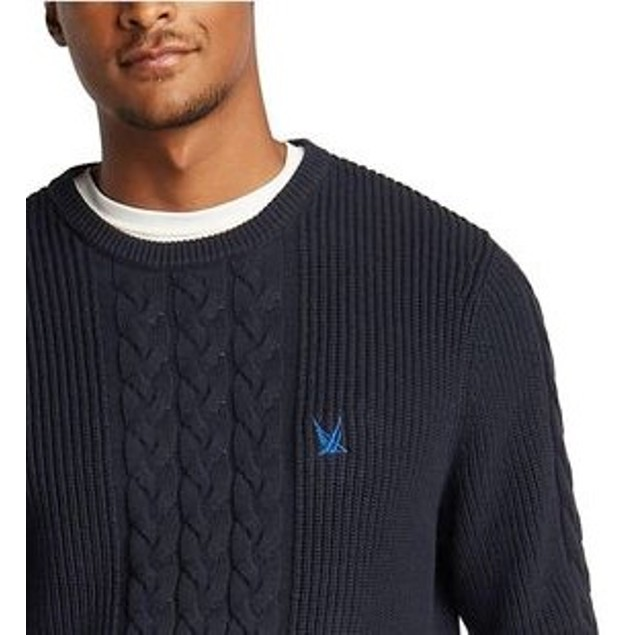 Nautica Men's Blue Sail Classic-Fit Cable Knit SweaterDark Blue Size Medium