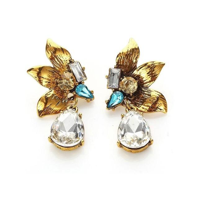 Novadab Aquamarine Diamante Gold Leaf Coil Drop Women Earrings
