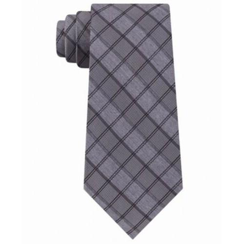 Calvin Klein Men's Jewel Graphic Check Slim Tie Gray Size Regular