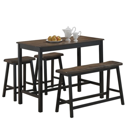 Costway 4 Pcs Solid Wood Counter Height Table Set w/ Height Bench & Two Sad