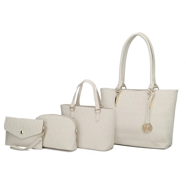 MKF Collection Edelyn embossed M Signature 4 PCS Tote Set