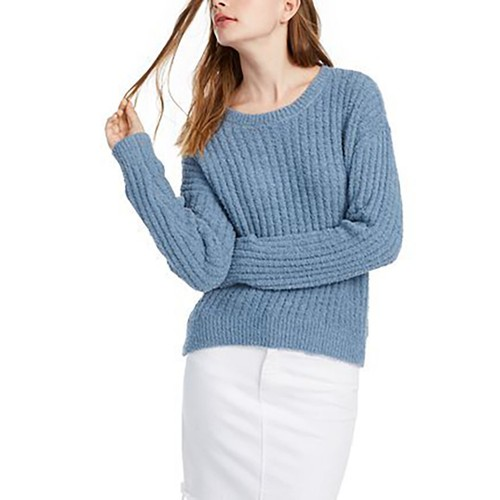 Crave Fame Juniors' Ribbed Cropped Sweater Blue Size Medium