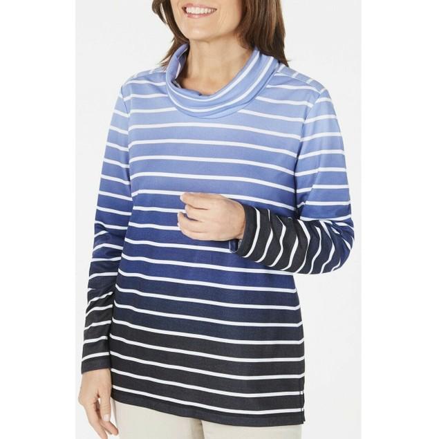 Karen Scott Women's Sport Ombre Striped Cowlneck Top Navy Size Medium