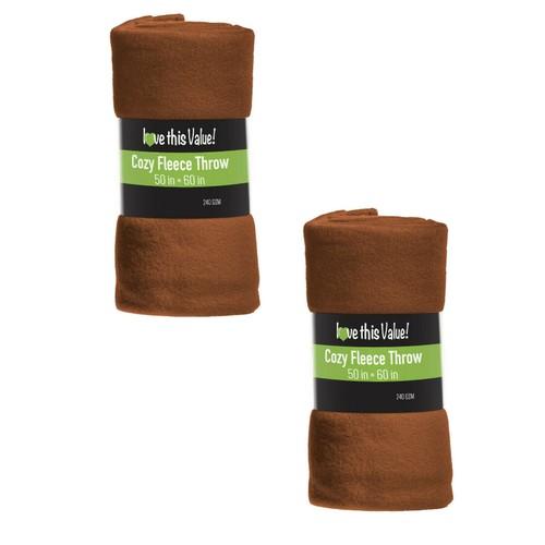 2 Pack Soft Warm Fleece Blanket 50 x 60 Throw Blanket Pet Blanket Brown
