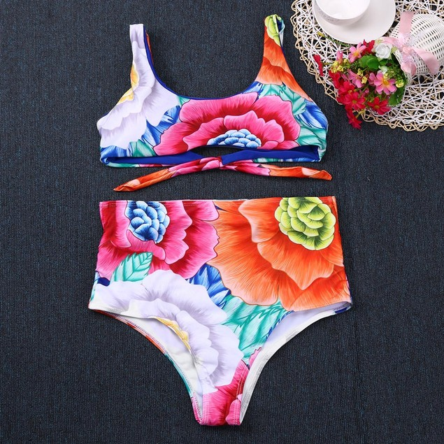 Female Push-Up Padded Floral Print Bra Swimwear Swimsuit Set Beachwear