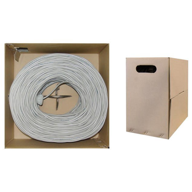 Bulk Cat6 Gray Ethernet Cable UTP  Pullbox, 1000 foot