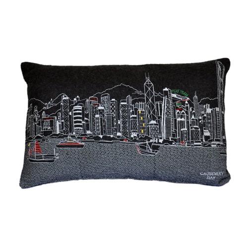 Spura Home Hongkong Skyline Embroidered Wool Cushion Day/Night Setting