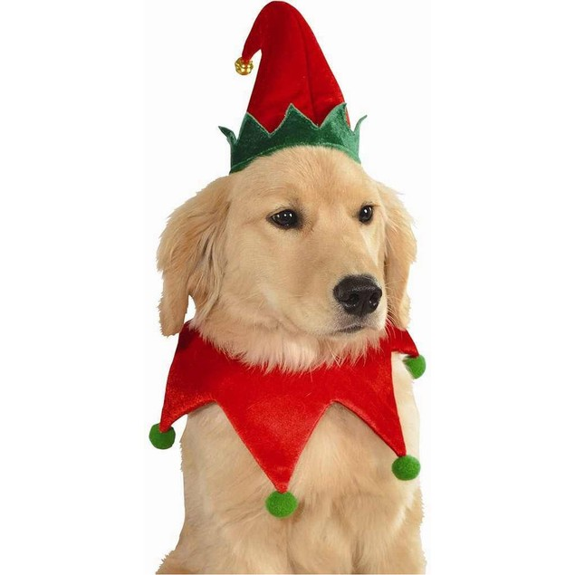 Elf Hat And Collar Pet Costume Dog Christmas Set Santa's Helper Puppy Cat