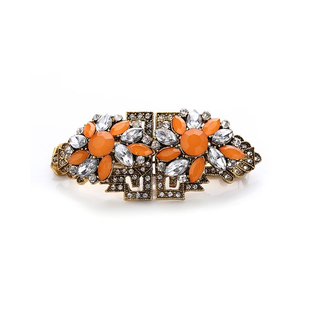 Novadab Classic Multi-Colored Crystal Floral-Inscribed Bracelet For Women
