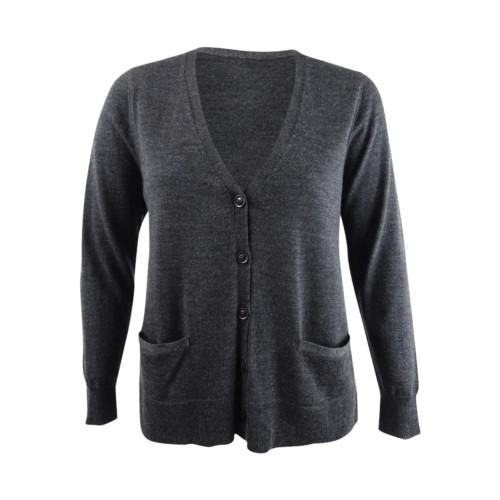 Charter Club Women's Merino Wool V-Neck Cardigan Dark Gray Size Large