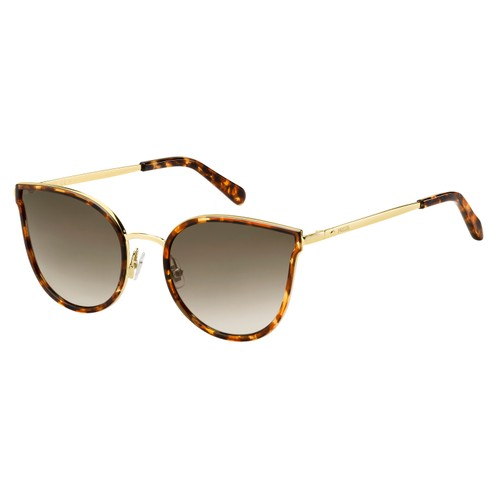 Fossil Women Sunglasses FOS2087S 021KHA Havana Gold 55 21 140 Cat Eye Gradient
