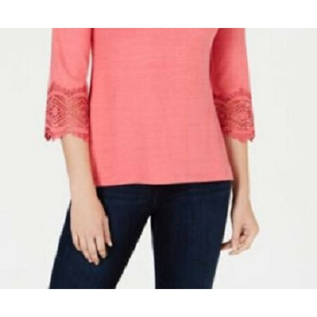 Charter Club Women's Cotton Lace-Trim Top Dark Pink Size Small