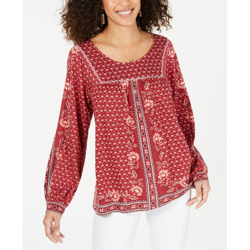 Style & Co Women's Cotton Blend Printed Peasant Knit Top Dark Red Medium