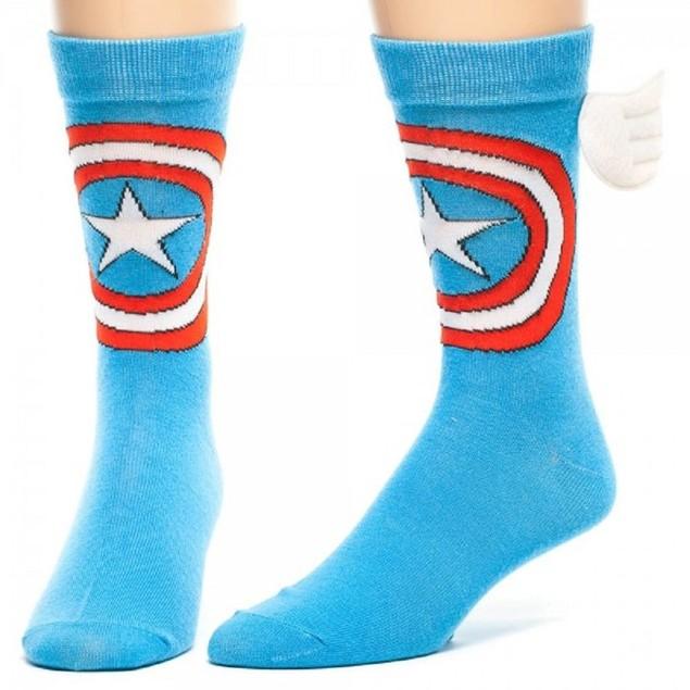 Captain America Winged Crew Socks (Pair) Marvel Uniform Logo Wings Adult