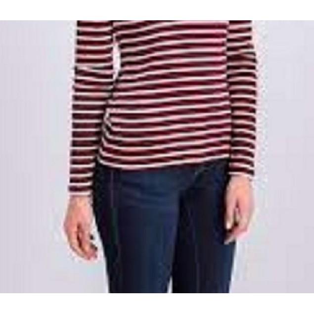 Charter Club Women's Metallic-Stripe Top Bright Red Size X-Large