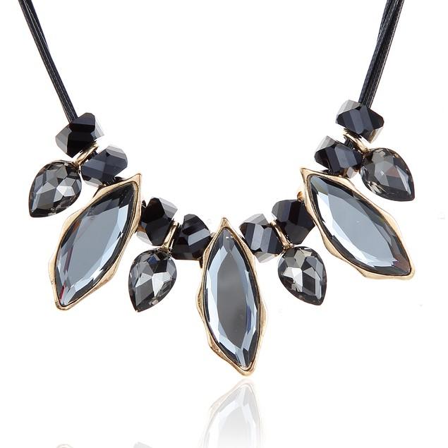 Novadab Futuristic Black Onyx Dazzling Crystal Statement Necklace Set