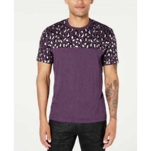 INC International Concepts Men's Foil Leopard T-Shirt Purple Size Medium