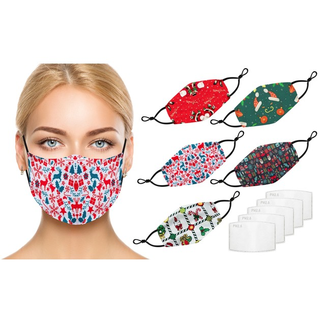 Holiday-Themed 100% Cotton Face Masks with Adjustable Straps (5-Pack)