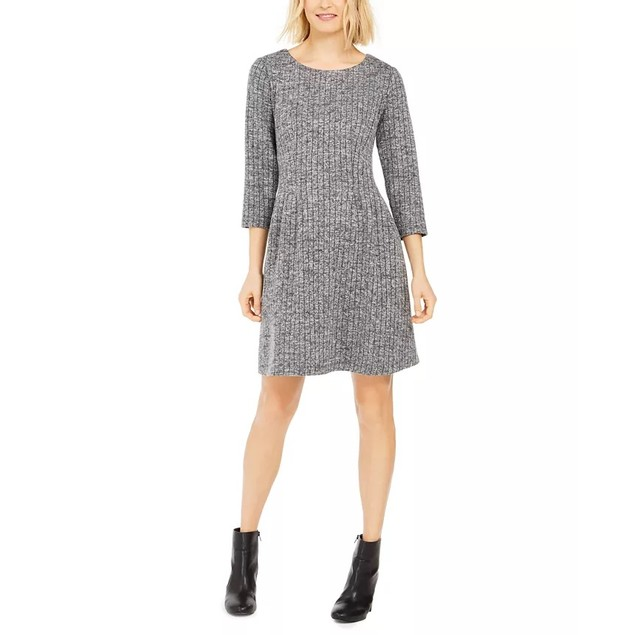 Connected Women's Fit & Flare Sweater Dress Grey Size 10
