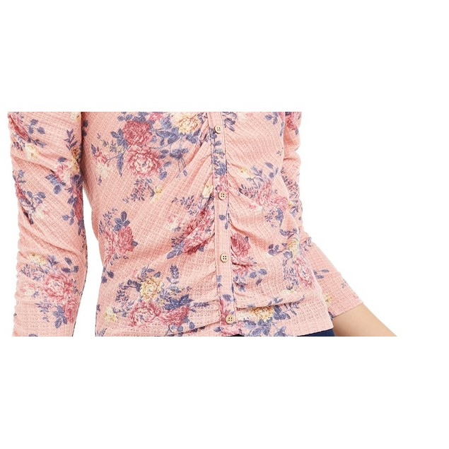 Crave Fame Juniors' Ruched Floral Top Blue Size Small