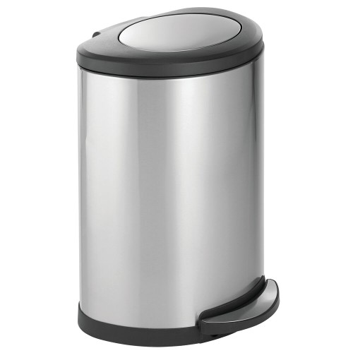 mDesign Large Metal Swing Top Step Trash Can with Removeable Liner, 45 L