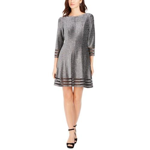 Jessica Howard Women's Metallic Illusion Trim Dress Silver Size 12 Petite