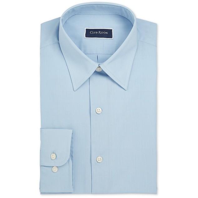 Club Room Men's Regular-Fit Solid Dress Shirt Blue Size 18.5x34-35