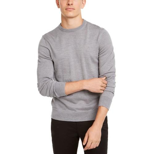 Calvin Klein Men's Solid Crew-Neck Sweater Gray Size Small