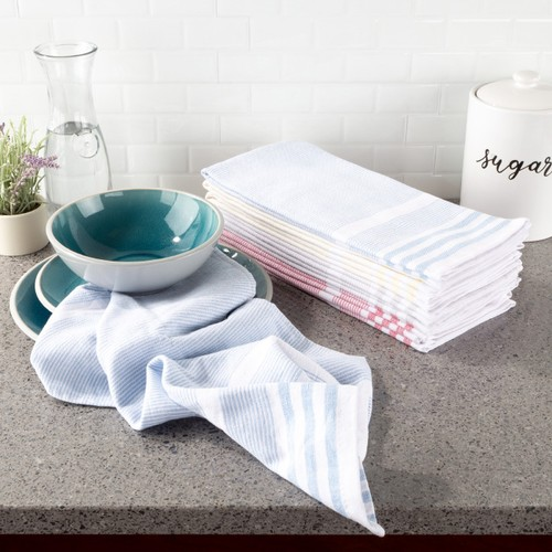 Kitchen Towels- Set of 8- 16 in.x28 in.- Absorbent 100% Cotton Hand Towel