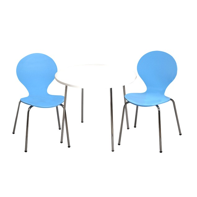 Giftmark Childrens Table And 2 Chairs With Chrome Legs (Blue Color Chairs)