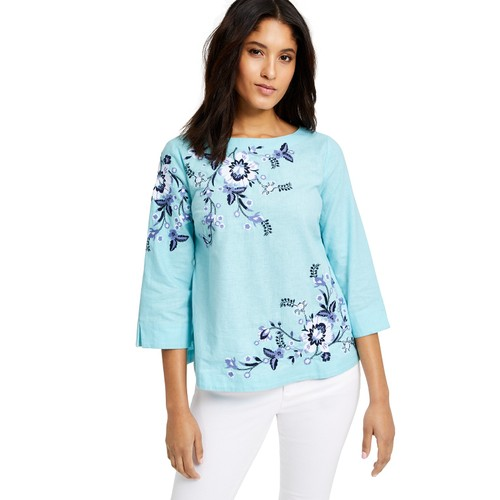 Charter Club Women's Floral-Embroidery Linen-Blend Top Blue Size Large