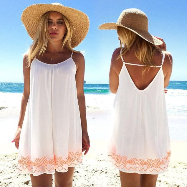 Women Backless Short Summer Party Beach Mini Sundress